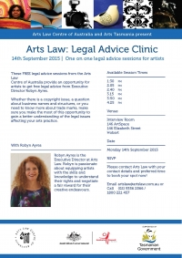 Arts Law Legal Advice Clinic Hobart