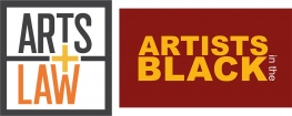 Arts Law's logo and Artists in the Black program logo (both orange text)
